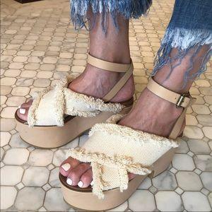 See By Chloe Beige Platform Sandals 37 EUC w/ box